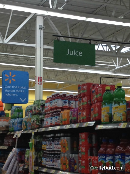 Juice sign over aisle