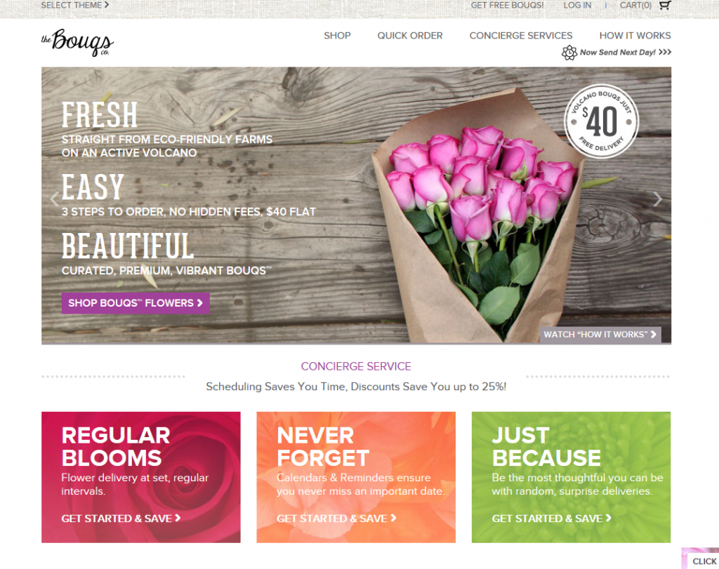 Bouqs Home Page