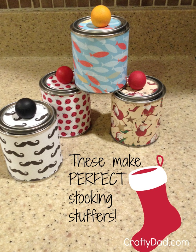 These decorated paint cans make PERFECT stocking stuffers!