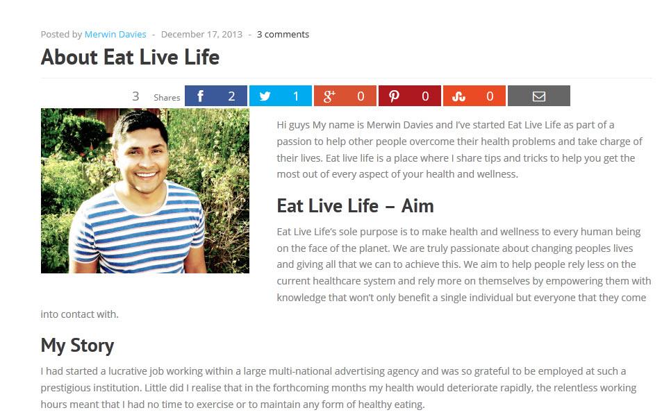 screen capture of eat live life dot com 11.12.2014