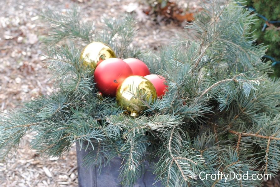Evergreen boughs and ornaments large
