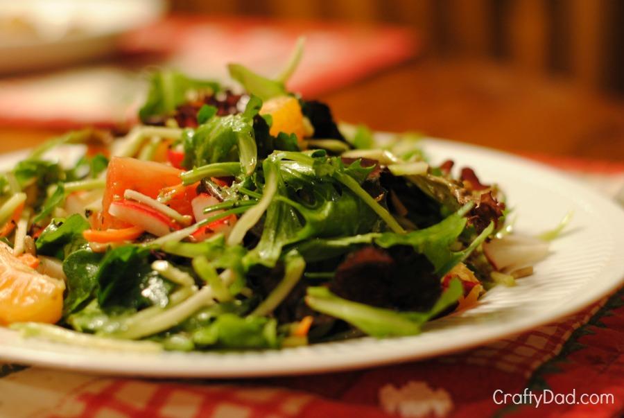Organic Greens and broccoli slaw salad