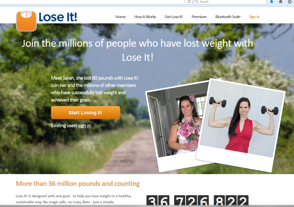 home page of lose it screen capture
